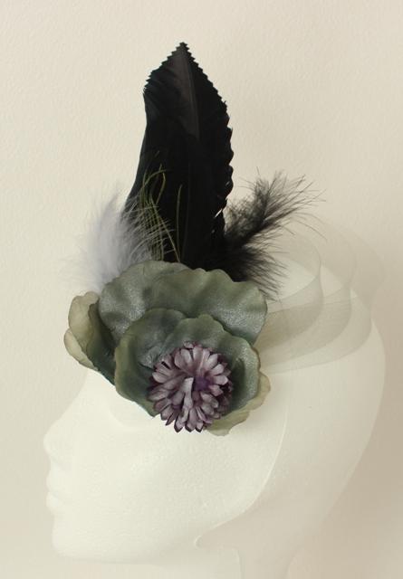 Colección De Cena - Tocado negro%2C lila y verde