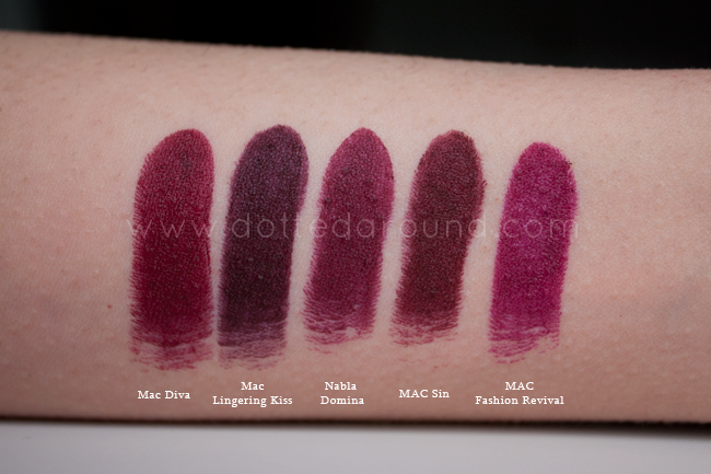 Nabla domina swatch rossetto mac sin diva
