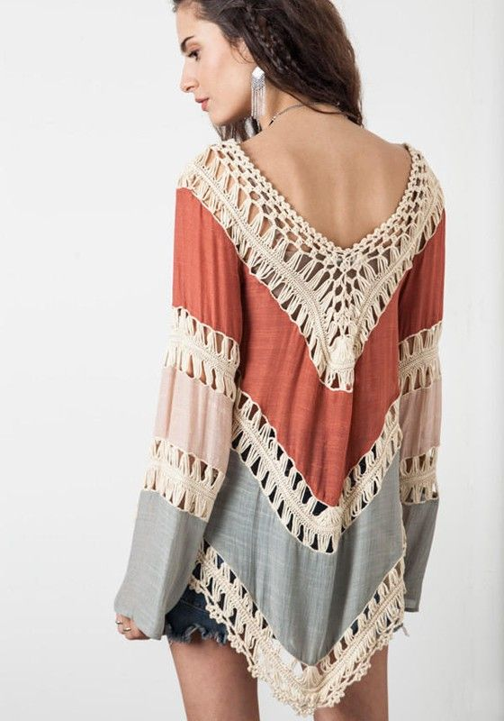 Multicolor Color Block Patchwork Lace Hollow-out Long Sleeve Bohemian T-Shirt - T-Shirts - Tops