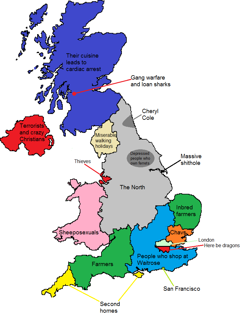 the map above created by reddit user holytriplem looks at stereotypes of the uk from one north londoner s perspective if you re from north london