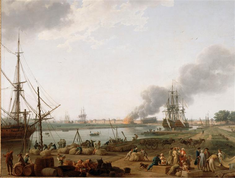 Chemin de papier les moyens de transport au 18e si cle - Vue du port de bordeaux joseph vernet ...