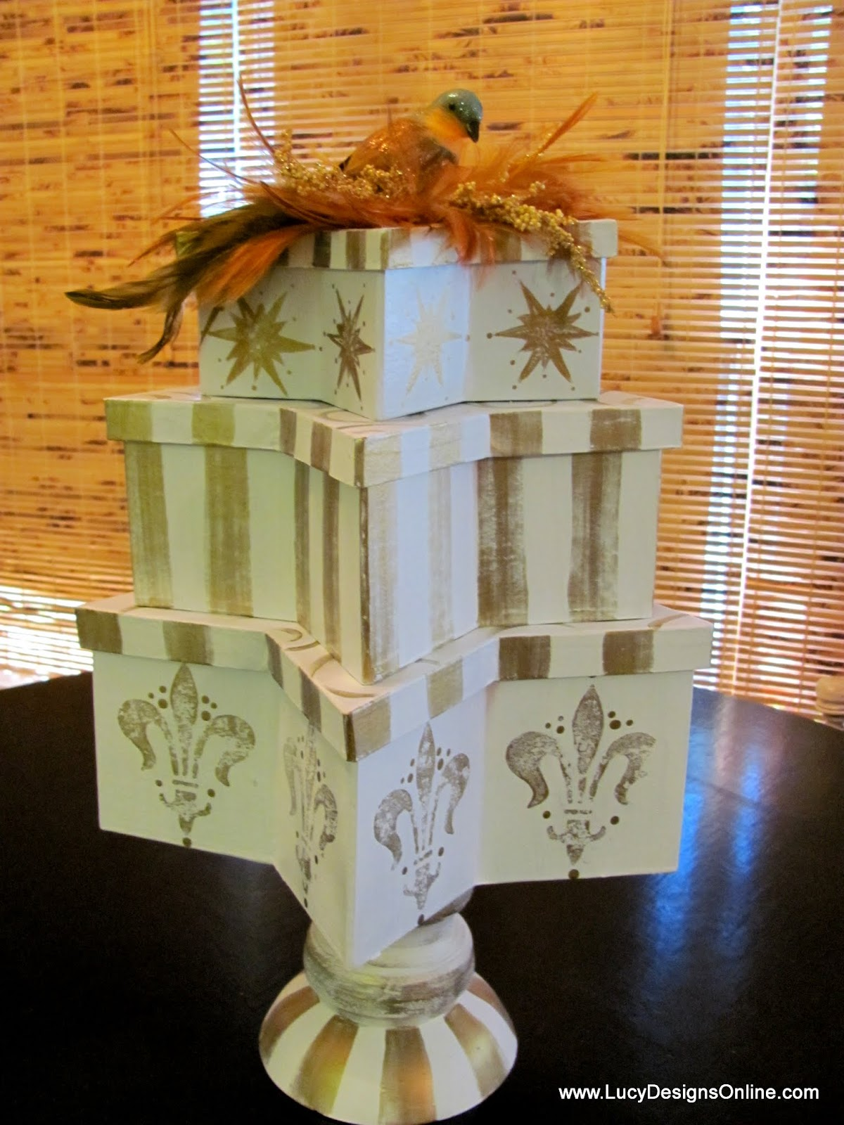 star paper mache painted boxes