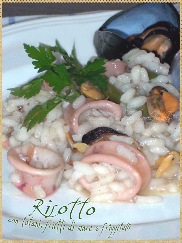 Risotto con totani frutti di mare e friggitelli