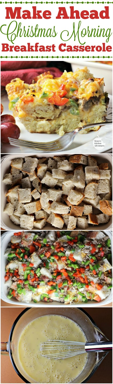 Make Ahead Christmas Morning Breakfast Casserole | by Renee's Kitchen Adventures - Easy breakfast or brunch recipe for a wonderful casserole that is all prepped the night before!  You must try this traditional family recipe!