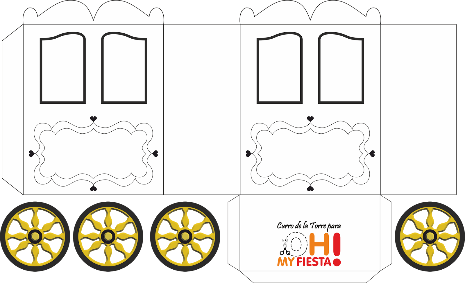 princess carriage shaped box  template