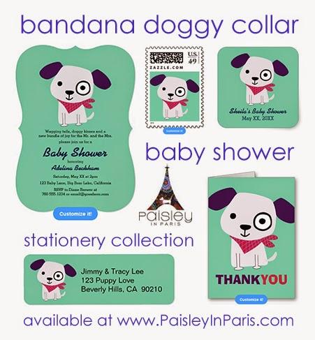 Dog with bandana collar, invitations, thank you cards