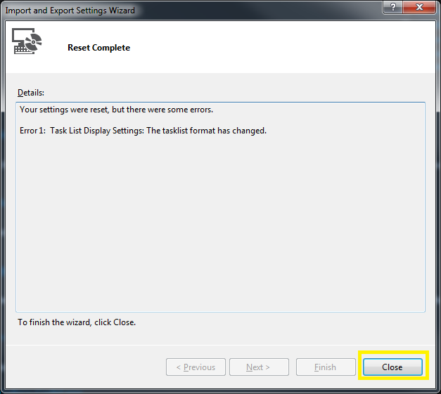 Tools > Import and Export Settings Wizard Step 4
