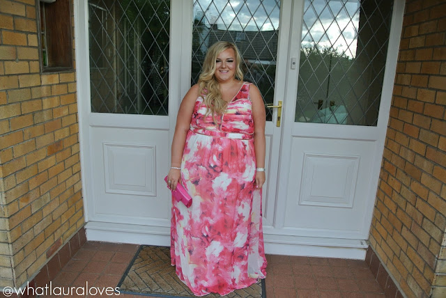 Little Mistress Plus Size Floral Pink Print Dress Simply Be Occasionwear