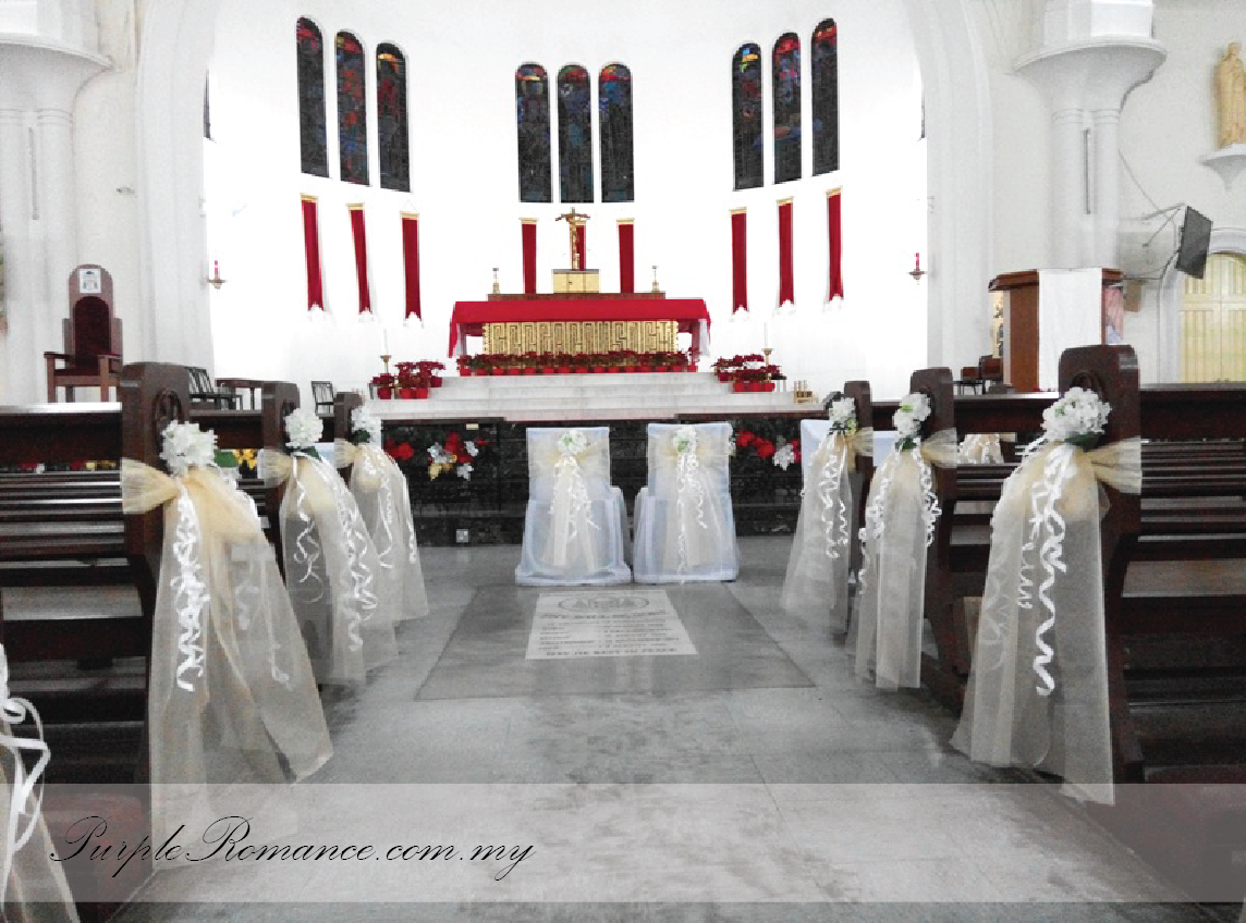 Church Wedding Decoration, St. John's Cathedral, Kuala Lumpur, white, ivory, organza, altar, modern, elegant, simple, arch, floral, roses, baby breath, selangor, malaysia