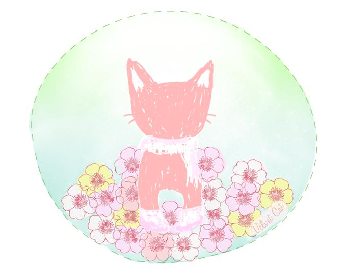 ilustración gato primavera