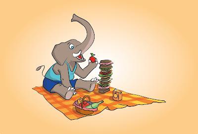 Elefante pic nic vettoriale
