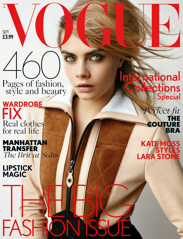 Cara Delevingne wears Louis Vuitton for the Vogue UK September 2014 cover