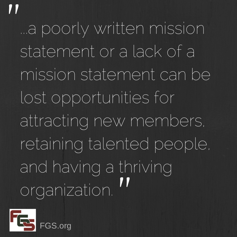 Genealogy Societies: A Case for Creating a Mission Statement via FGS.org
