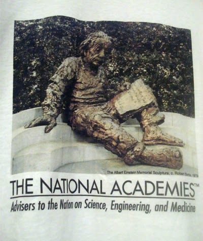"photo of National Academies T-shirt with Einstein sculpture, ""Advisers to the Nation on Science, Engineering, and Medicine"""