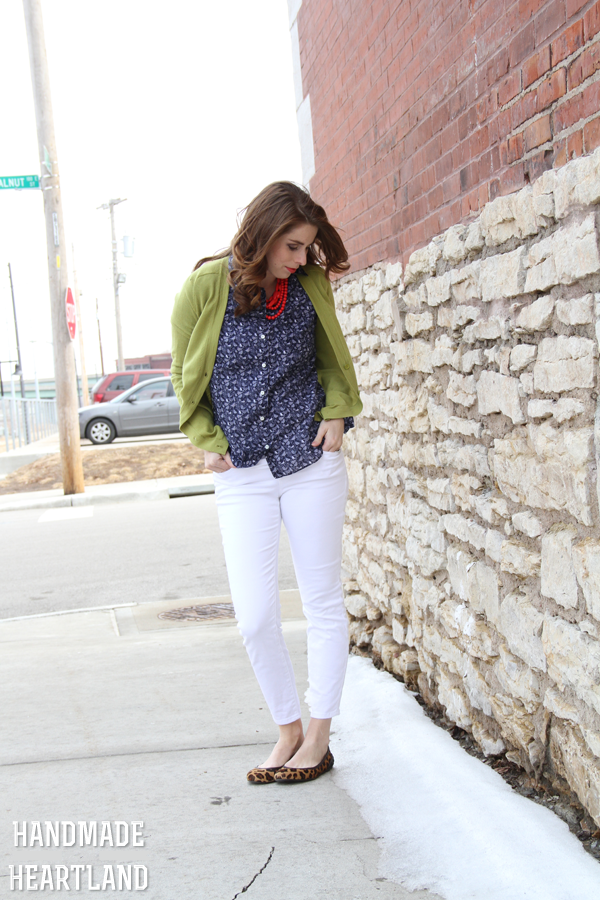 White Jeans with Navy & Olive Fashion Outfit Post