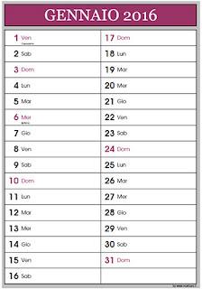 Calendario 2016 per appunti
