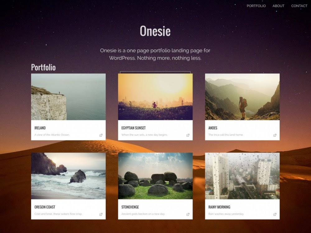 Download Onesie - Free Responsive Wordpress Portfolio Themes 2015