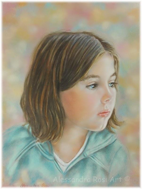 Custom child portrait painting, Pastel portrait of a child