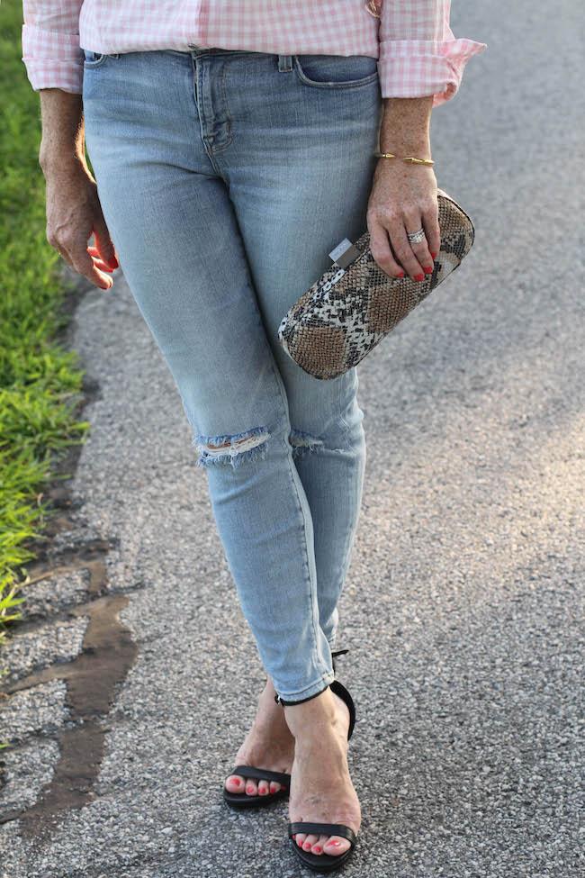 j brand jeans, steve madden heels, hobo clutch
