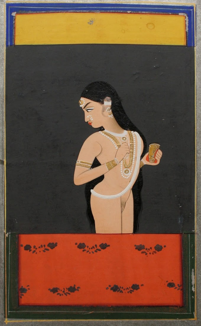 Nude Courtesan at Window holding Wine Cup - Jaipur, Mid 19th Century