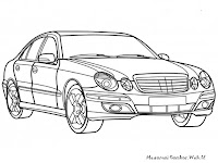 Halaman Mewarnai Gambar Mobil Mercedes E-Class