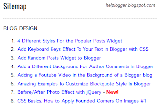 table of contents, sitemap, blogger