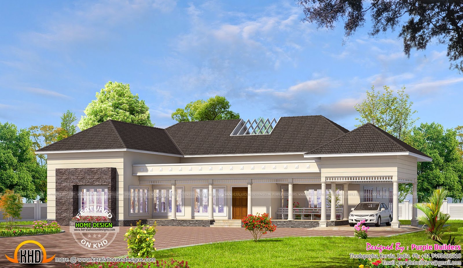India bungalow exterior kerala home design and floor plans for Indian bungalow designs and floor plans