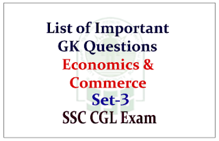 GK Questions from Economics & Commerce for Upcoming SSC Exam