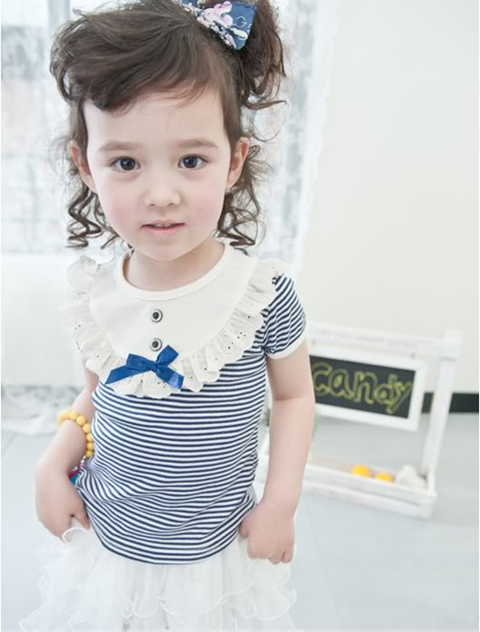 [G022]Blue Stripe T w/ Blue Ribbon &#39;N Button