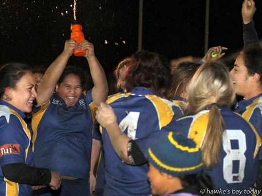 Clive celebrates their 34-17 win against Havelock North - women's rugby final at Farndon Park, Clive photogaph