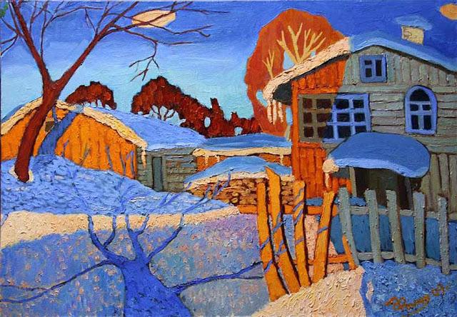 зима в живописи В. Фомюк