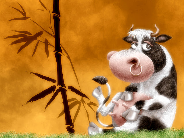cow, bamboo, cartoon wallpaper