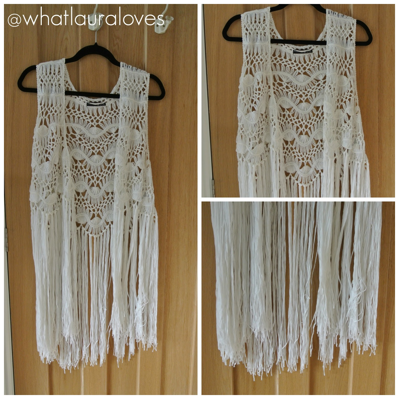 White Crotchet Waist Coat Primark
