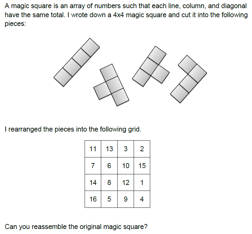 Tetris and magic squares matheminutes here is one of the questions i set for this years charterhouse foundation scholarship exam try it ccuart Image collections
