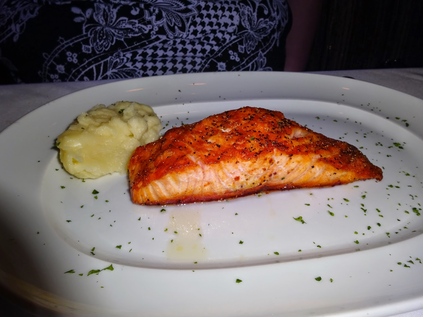 i know this is a steak place but katie wasnt feeling like red meat tonight so she opted for the 10 ounce scottish salmon she was pretty impressed with