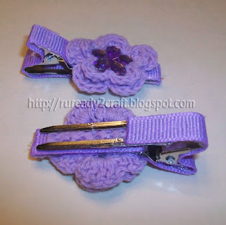 DIY embellished 2 layer purple crochet applique on lined hair clip