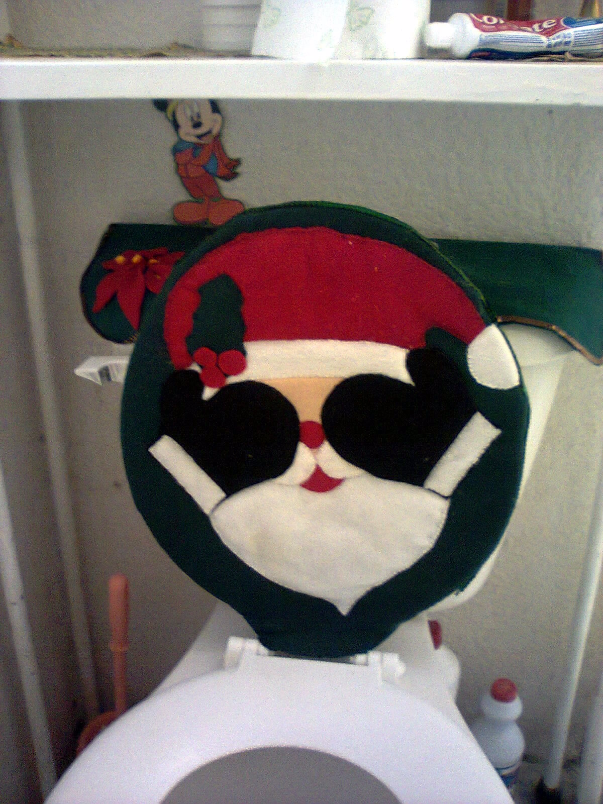 Set De Baño Navideno:Santa Claus Juego De Bano En Fieltro
