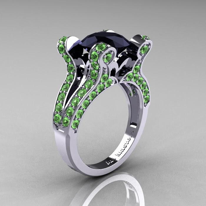 BEAUTY AND FASHION GREEN DIAMOND WEDDING RINGS