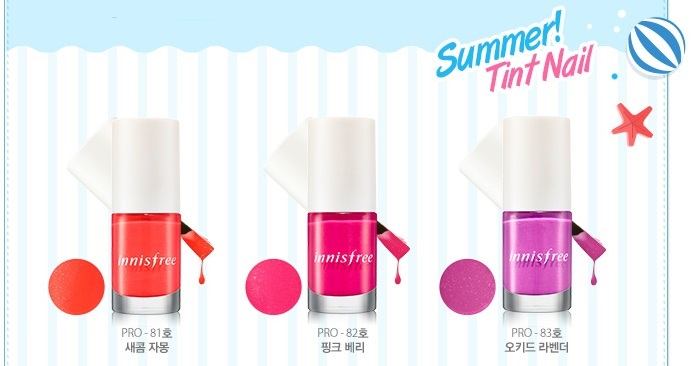 Innisfree summer tint nail nail polishes no. 81, 82 and 83