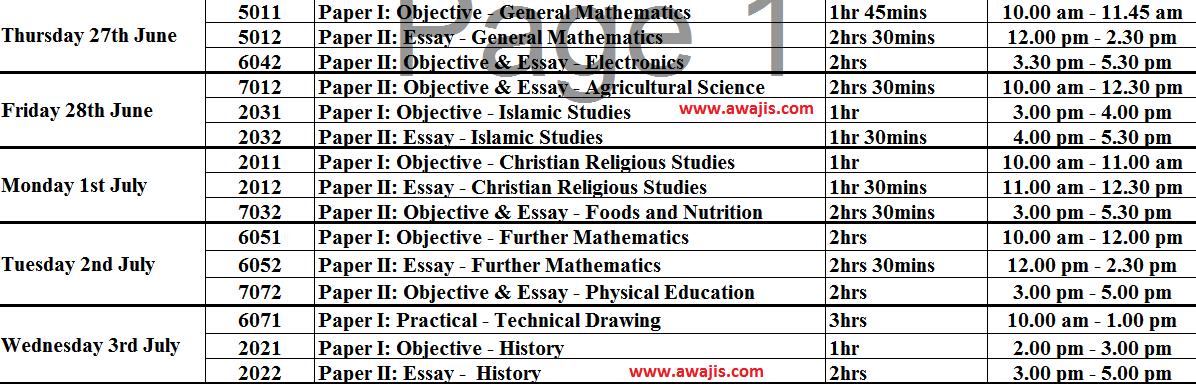 2014 May June waec time table
