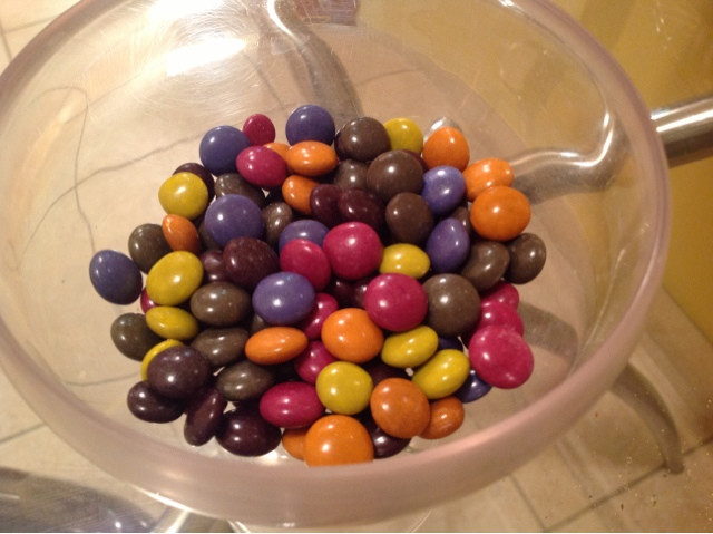 colored candy in a bowl