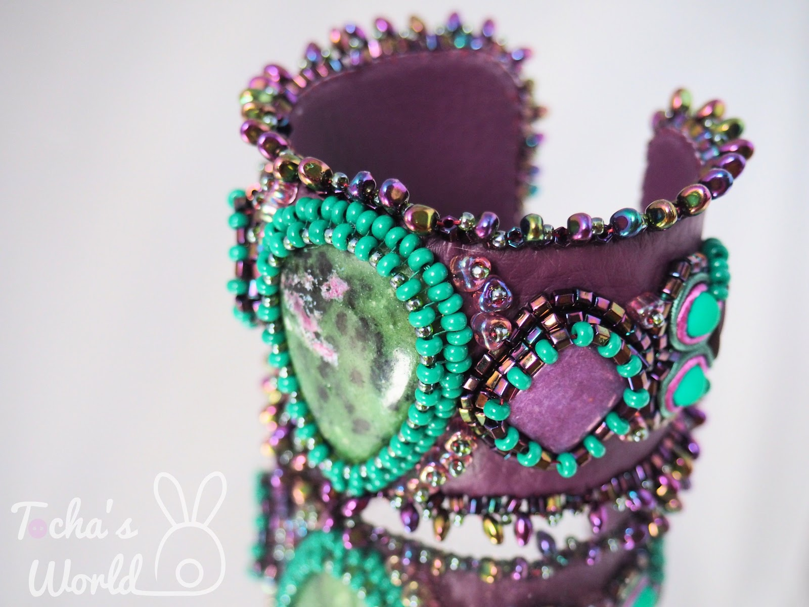 bracelet, bangle, pleather, vegan, beads, beaded, soutache, cabochon, ruby in zoisite, anyolite, semi-precious stone, purple, green, Toho, Preciosa, ethical fashion, Miyuki, hematite, Pollok House, Scotland,