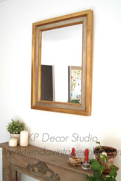 Comprar espejo vintage de madera forma cuadrada