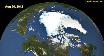 Arctic sea ice on Aug. 26, 2012