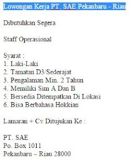 Lowongan Kerja PT. SAE Pekanbaru - Riau