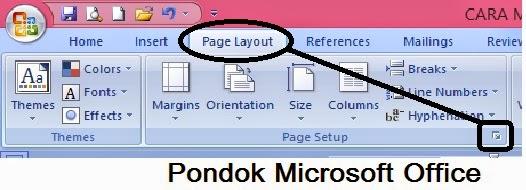 Langkah Membuka Page Setup