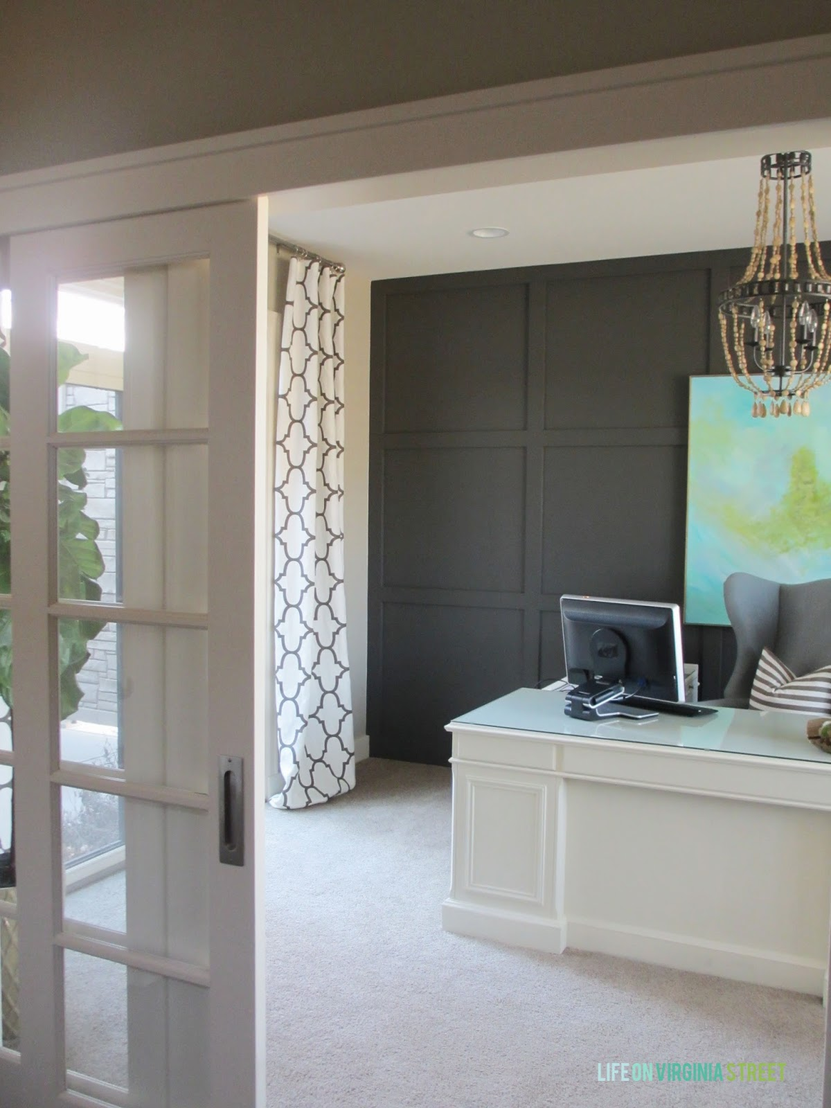 Home office makeover with french pocket sliding doors and Windsor Smith Riad in Clove drapes.