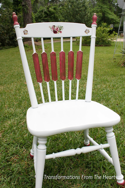 old painted chair with roses make over