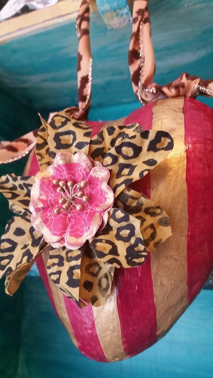 leopard print Valentine heart ornament door knob hanger