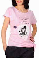 Tricou roz din bumbac cu imprimeu pisici